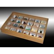 Estuche madera y tapa cristal colección 24 rocas
